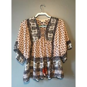 Knox Rose hippie print blouse size small